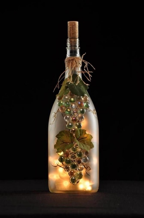 How to make decorative wine bottle lights without drilling for How to make wine bottle lights