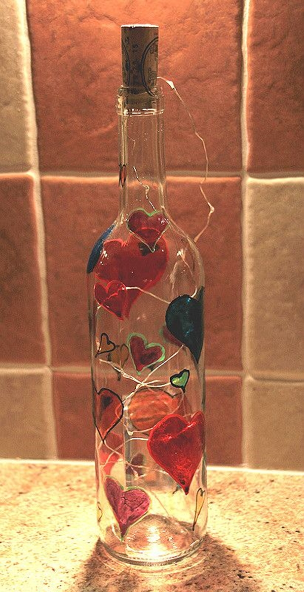 decorated Wine bottle lights without drilling 15