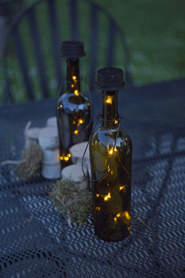 decorated Wine bottle lights without drilling 18b