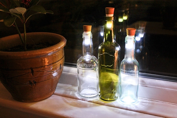 decorated Wine bottle lights without drilling 20