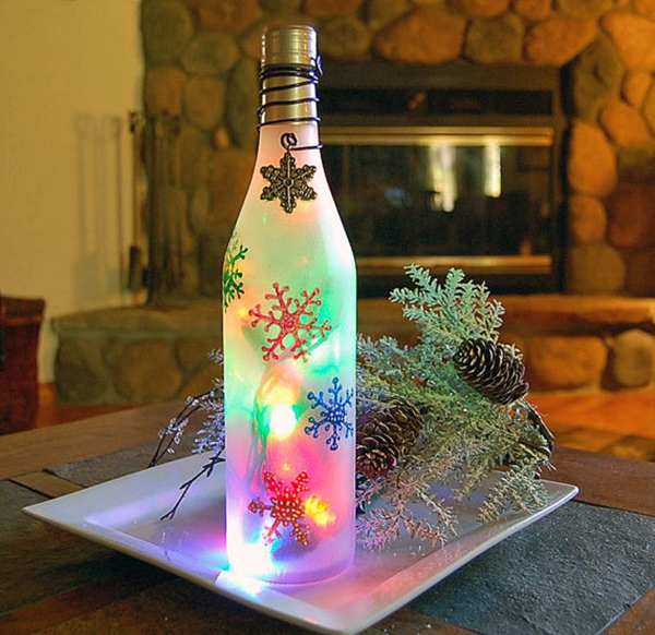 decorated Wine bottle lights without drilling 8