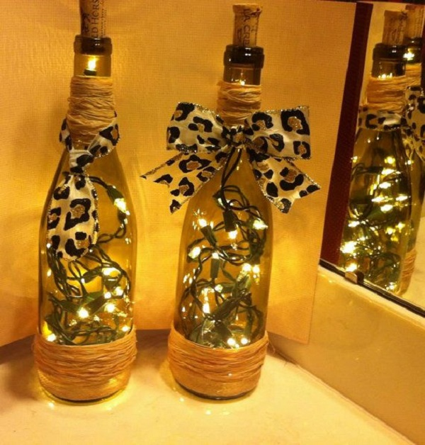 decorated Wine bottle lights without drilling 5