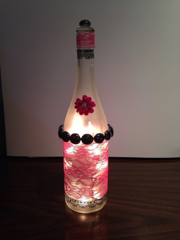 decorated Wine bottle lights without drilling 6